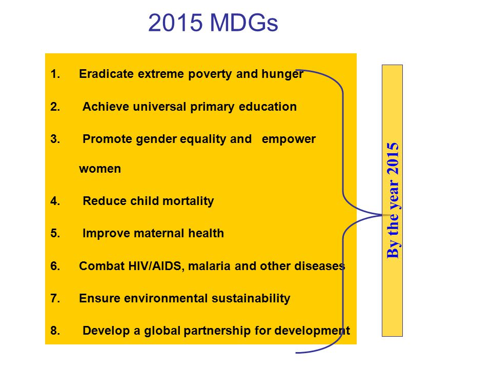 2015 MDGs 1.Eradicate extreme poverty and hunger 2.