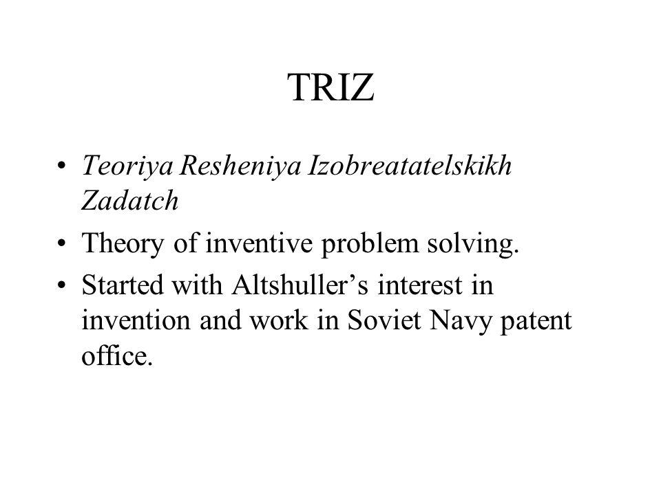 TRIZ Teoriya Resheniya Izobreatatelskikh Zadatch Theory of inventive problem solving.