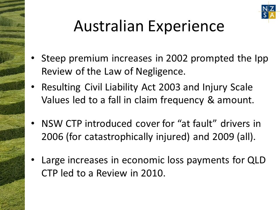 Australian Experience Steep premium increases in 2002 prompted the Ipp Review of the Law of Negligence.