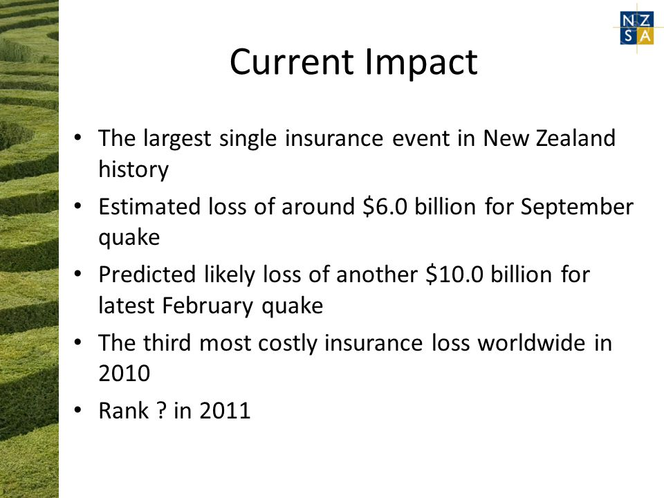 Current Impact The largest single insurance event in New Zealand history Estimated loss of around $6.0 billion for September quake Predicted likely loss of another $10.0 billion for latest February quake The third most costly insurance loss worldwide in 2010 Rank .