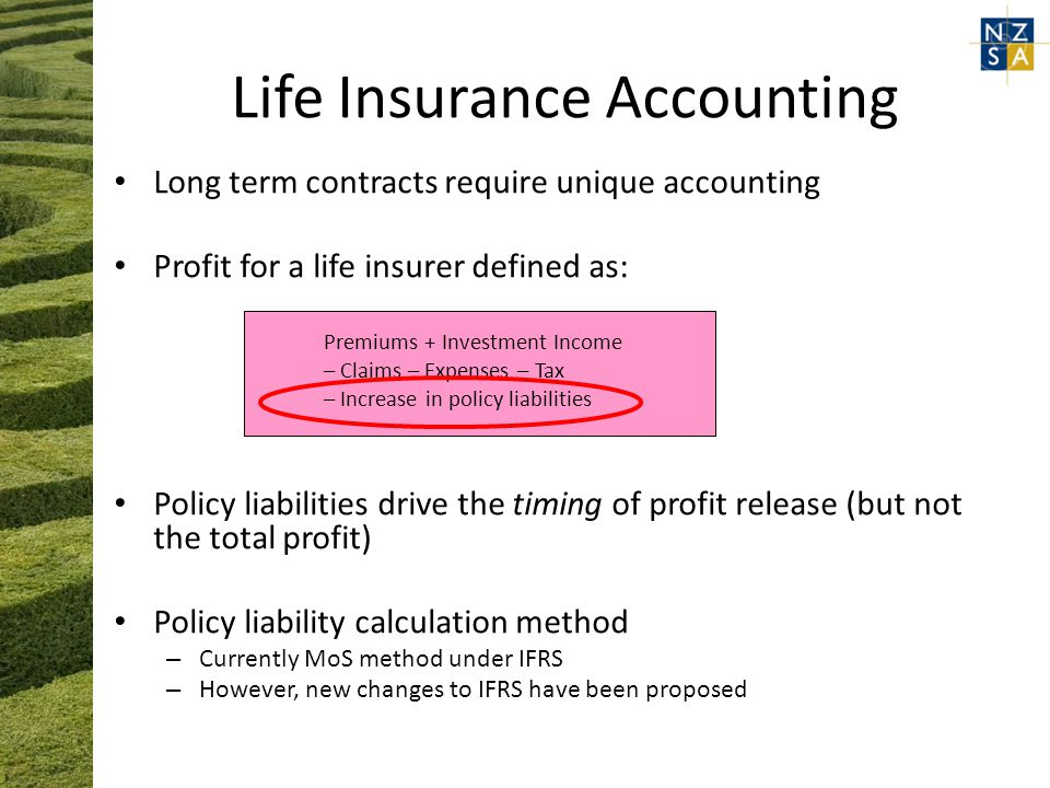 Life Insurance Accounting Long term contracts require unique accounting Profit for a life insurer defined as: Premiums + Investment Income – Claims – Expenses – Tax – Increase in policy liabilities Policy liabilities drive the timing of profit release (but not the total profit) Policy liability calculation method – Currently MoS method under IFRS – However, new changes to IFRS have been proposed