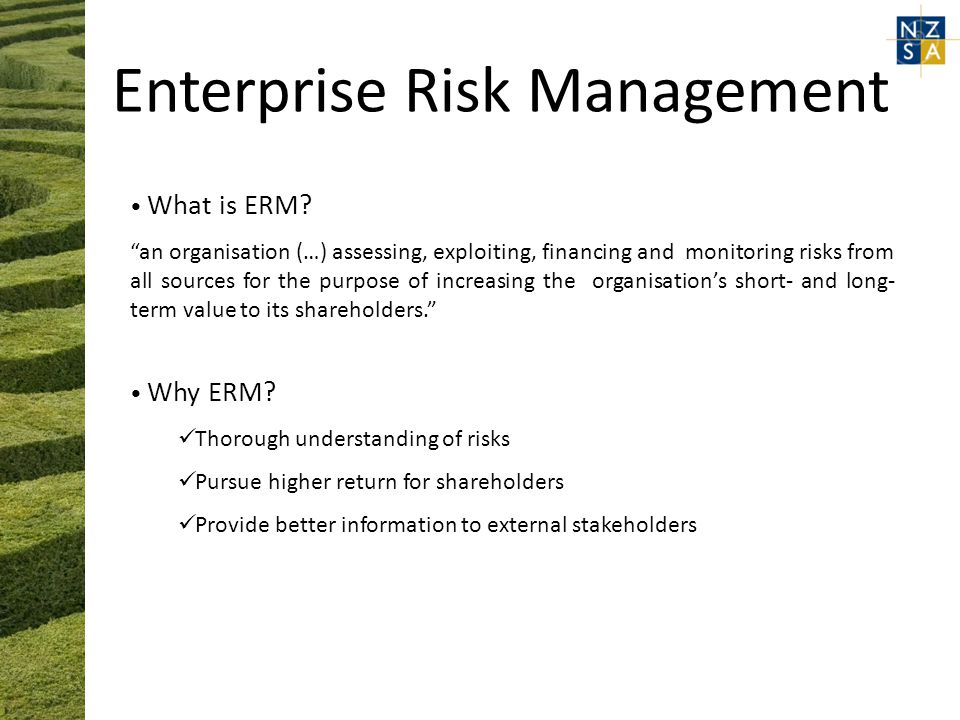 Enterprise Risk Management What is ERM.