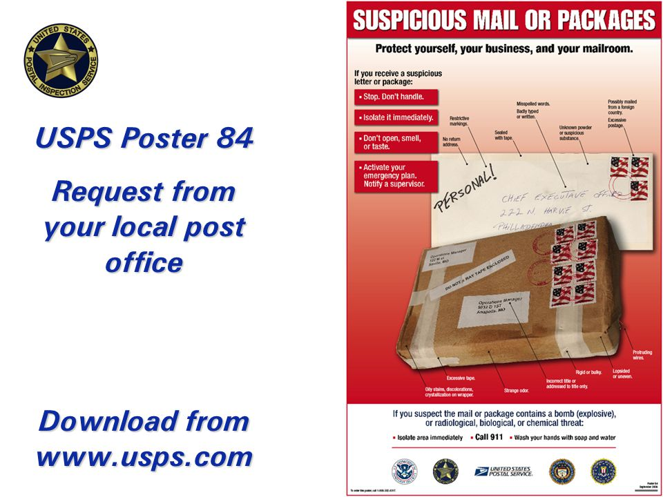 USPS Poster 84 Request from your local post office Download from www.usps.com