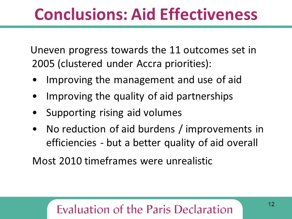 12 Conclusions: Aid Effectiveness Uneven progress towards the 11 outcomes set in 2005 (clustered under Accra priorities): Improving the management and use of aid Improving the quality of aid partnerships Supporting rising aid volumes No reduction of aid burdens / improvements in efficiencies - but a better quality of aid overall Most 2010 timeframes were unrealistic