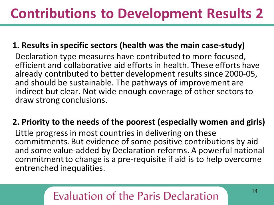 14 Contributions to Development Results 2 1.