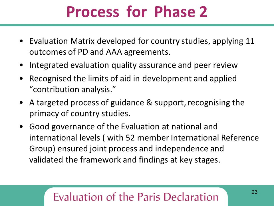 23 Process for Phase 2 Evaluation Matrix developed for country studies, applying 11 outcomes of PD and AAA agreements.