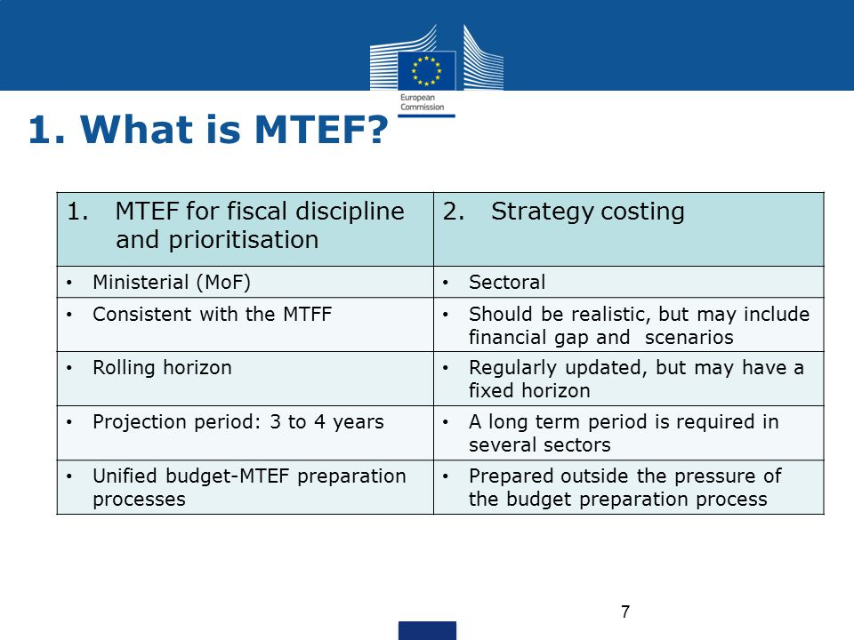 7 1.MTEF for fiscal discipline and prioritisation 2.