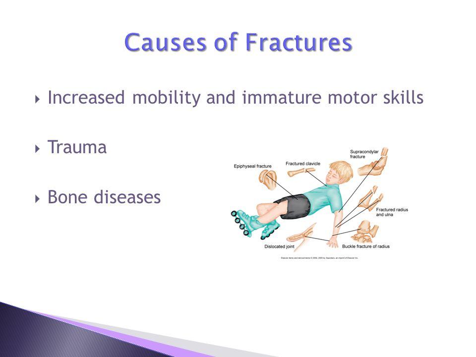  Increased mobility and immature motor skills  Trauma  Bone diseases