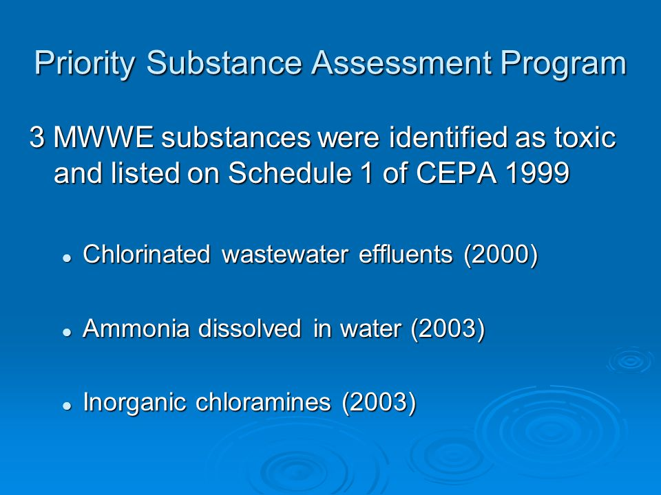 Priority Substance Assessment Program 3 MWWE substances were identified as toxic and listed on Schedule 1 of CEPA 1999 Chlorinated wastewater effluents (2000) Chlorinated wastewater effluents (2000) Ammonia dissolved in water (2003) Ammonia dissolved in water (2003) Inorganic chloramines (2003) Inorganic chloramines (2003)