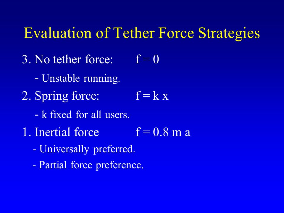 Evaluation of Tether Force Strategies 3. No tether force:f = 0 - Unstable running.