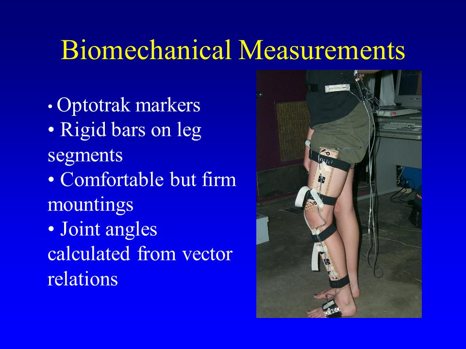 Biomechanical Measurements Optotrak markers Rigid bars on leg segments Comfortable but firm mountings Joint angles calculated from vector relations