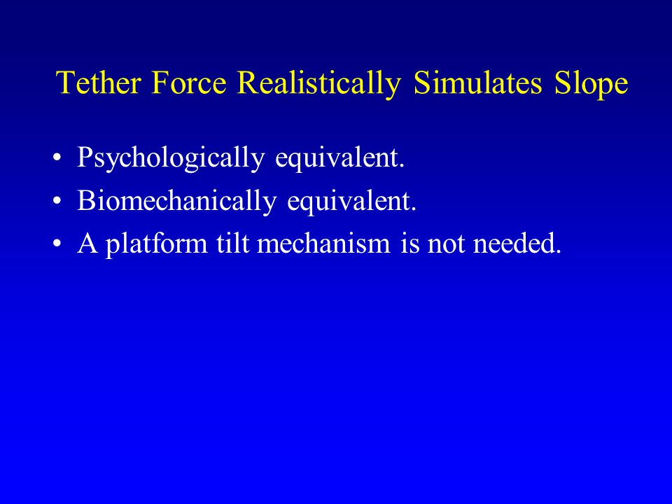 Tether Force Realistically Simulates Slope Psychologically equivalent.