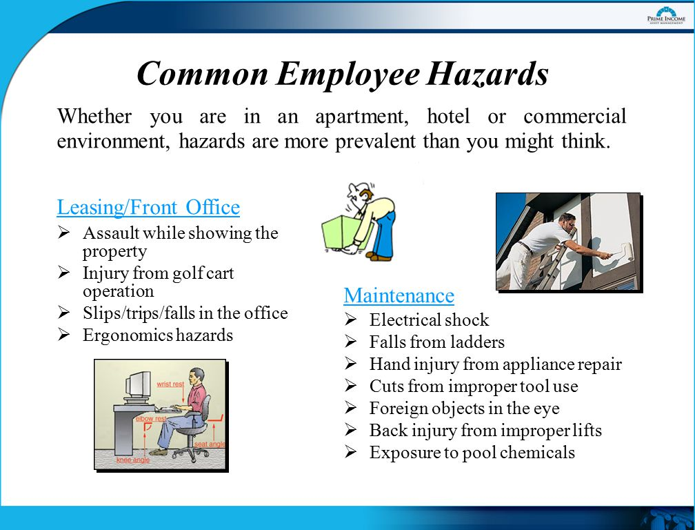 Common Employee Hazards, continued Some hazards common to all employee types might include:  Slips/falls on stairs  Slips/trips/falls on wet or uneven sidewalks or curbs  Auto accidents while on company business  Confrontation by angry guests or residents  Encountering drug paraphernalia in occupied (or vacated) units or rooms  Insect bites or stings (spiders, fire ants, wasps, etc.)
