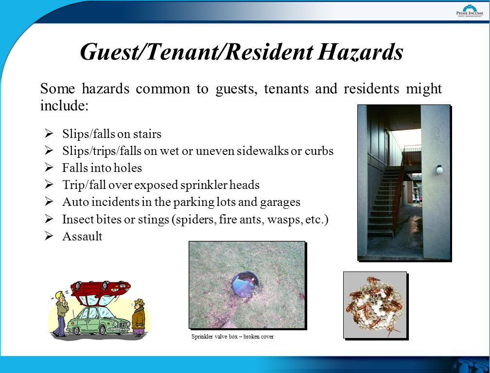 Guest/Tenant/Resident Hazards Some hazards common to guests, tenants and residents might include:  Slips/falls on stairs  Slips/trips/falls on wet or uneven sidewalks or curbs  Falls into holes  Trip/fall over exposed sprinkler heads  Auto incidents in the parking lots and garages  Insect bites or stings (spiders, fire ants, wasps, etc.)  Assault Sprinkler valve box – broken cover