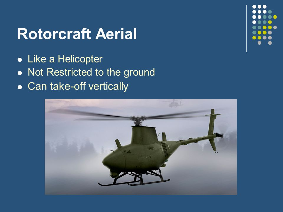 Rotorcraft Aerial Like a Helicopter Not Restricted to the ground Can take-off vertically