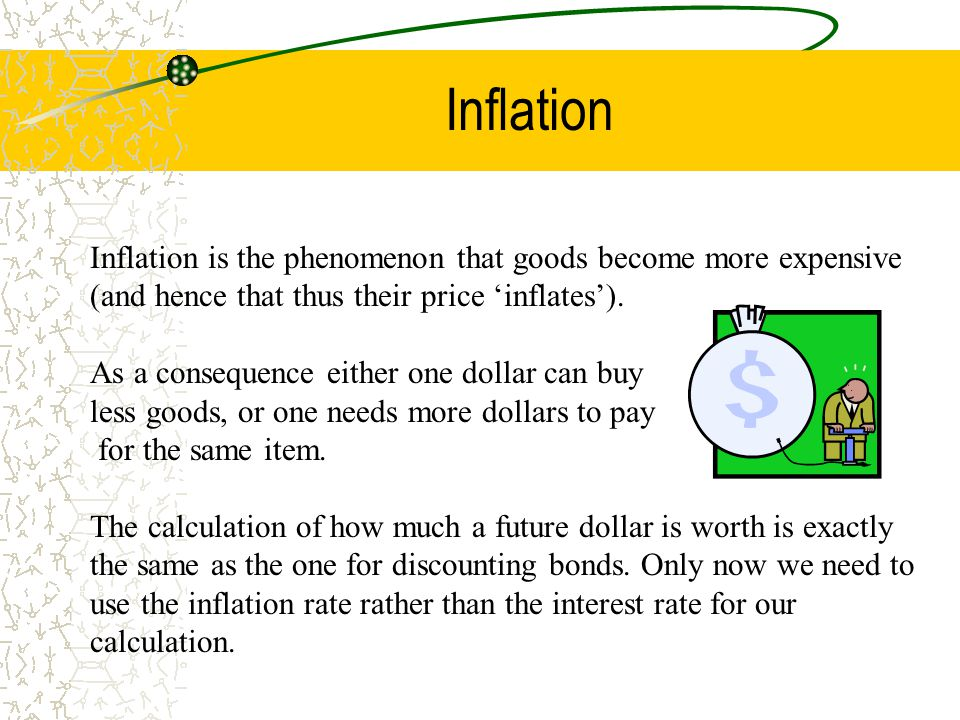 Inflation Inflation is the phenomenon that goods become more expensive (and hence that thus their price 'inflates'). As a consequence either one dolla