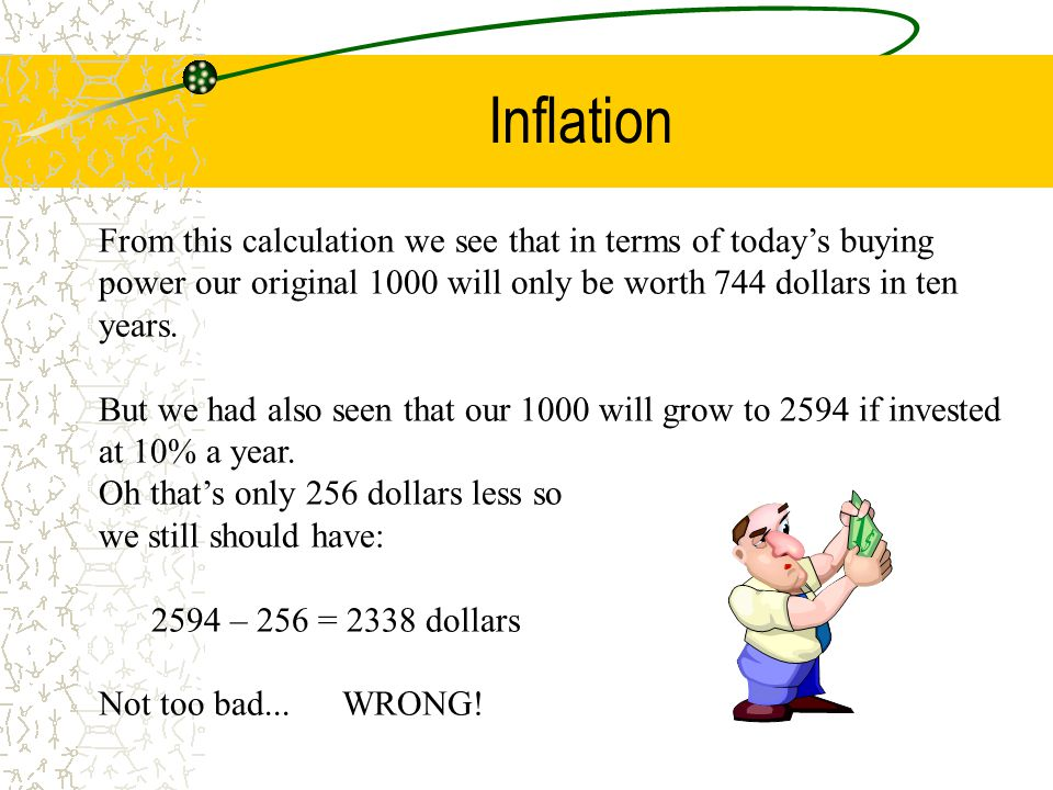 Inflation From this calculation we see that in terms of today's buying power our original 1000 will only be worth 744 dollars in ten years. But we had