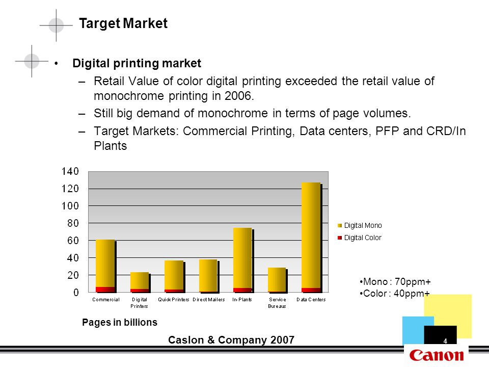 4 Pages in billions Caslon & Company 2007 Mono : 70ppm+ Color : 40ppm+ Digital printing market –Retail Value of color digital printing exceeded the retail value of monochrome printing in 2006.