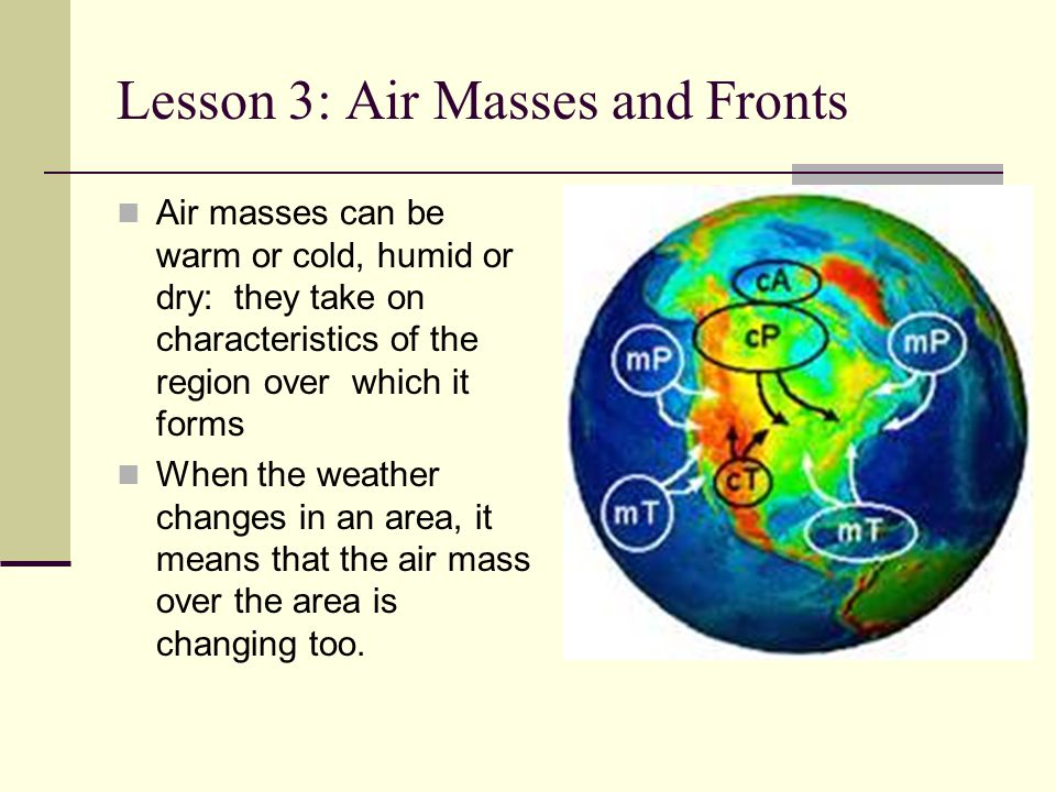 Lesson 3: Air Masses and Fronts Air masses can be warm or cold, humid or dry: they take on characteristics of the region over which it forms When the