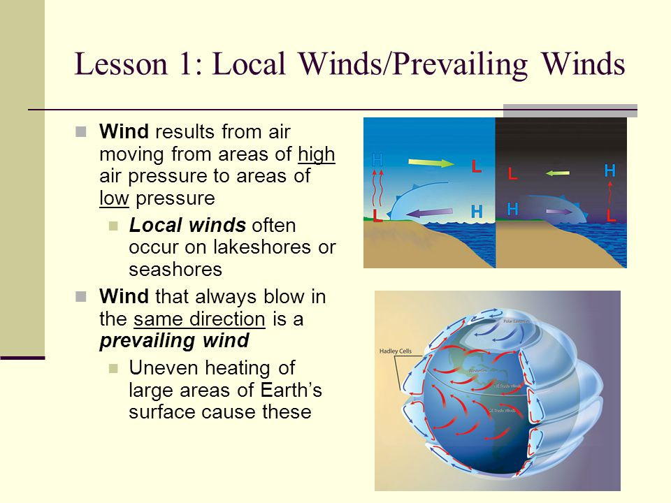 Lesson 1: Local Winds/Prevailing Winds Wind results from air moving from areas of high air pressure to areas of low pressure Local winds often occur o