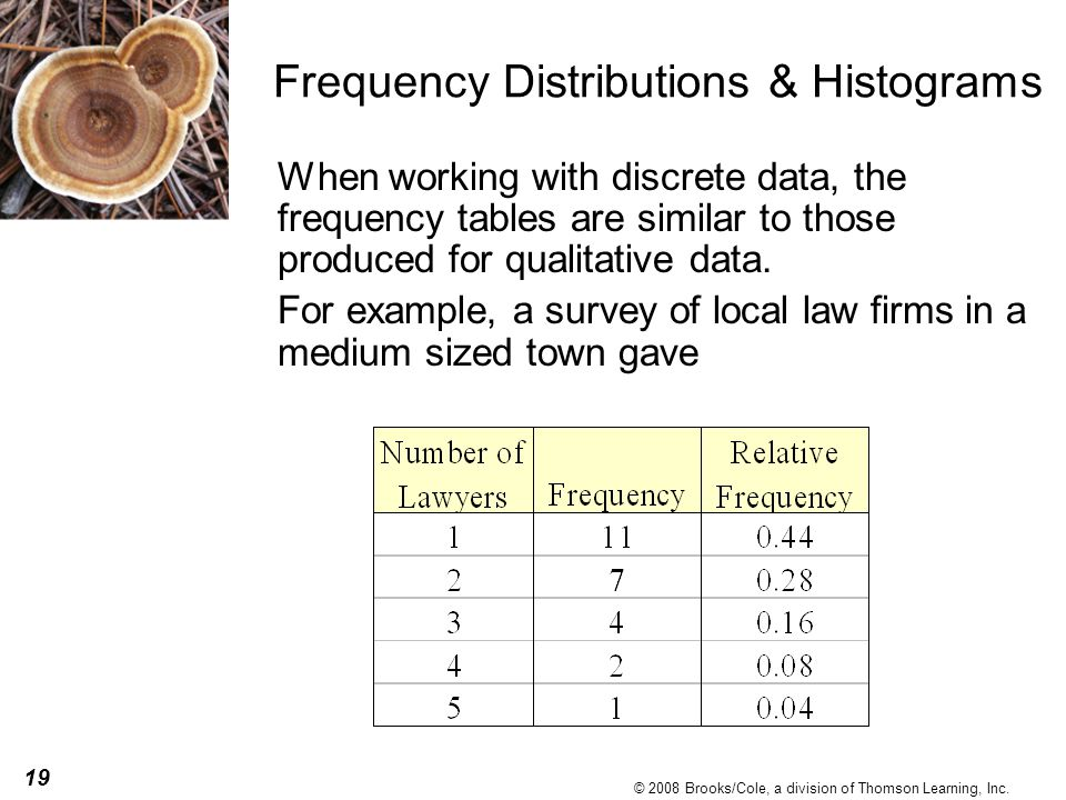 19 © 2008 Brooks/Cole, a division of Thomson Learning, Inc. Frequency Distributions & Histograms When working with discrete data, the frequency tables
