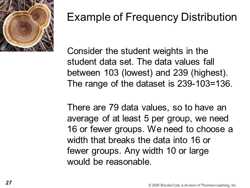 27 © 2008 Brooks/Cole, a division of Thomson Learning, Inc. Example of Frequency Distribution Consider the student weights in the student data set. Th