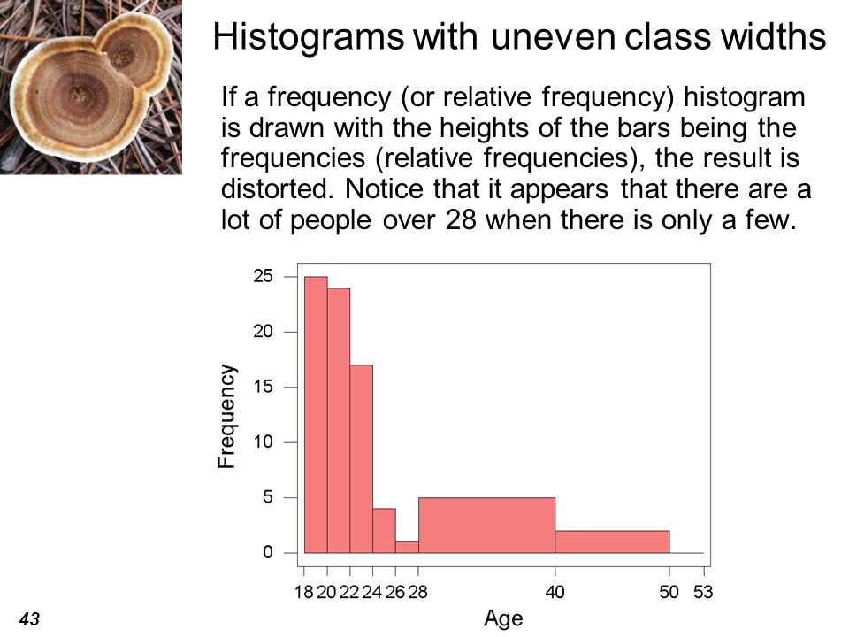 43 © 2008 Brooks/Cole, a division of Thomson Learning, Inc. Histograms with uneven class widths If a frequency (or relative frequency) histogram is dr