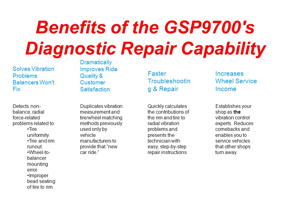 Benefits of the GSP9700's Diagnostic Repair Capability Solves Vibration Problems Balancers Won't Fix Dramatically Improves Ride Quality & Customer Sat