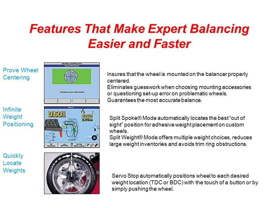 Features That Make Expert Balancing Easier and Faster Insures that the wheel is mounted on the balancer properly centered. Eliminates guesswork when c