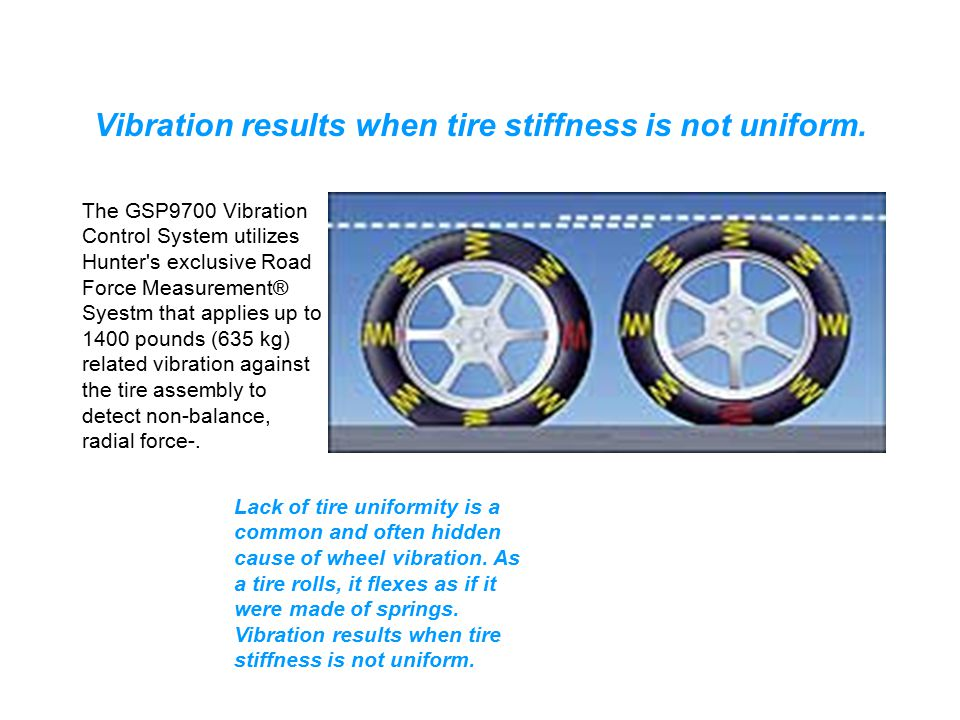 Vibration results when tire stiffness is not uniform.