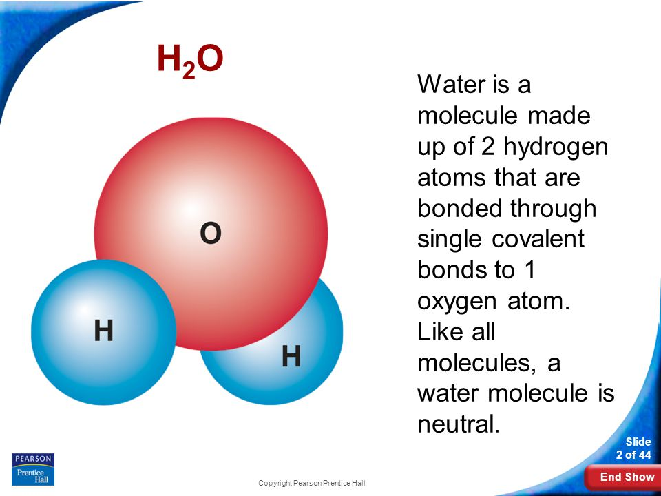 End Show Slide 2 of 44 Copyright Pearson Prentice Hall H2OH2O Water is a molecule made up of 2 hydrogen atoms that are bonded through single covalent