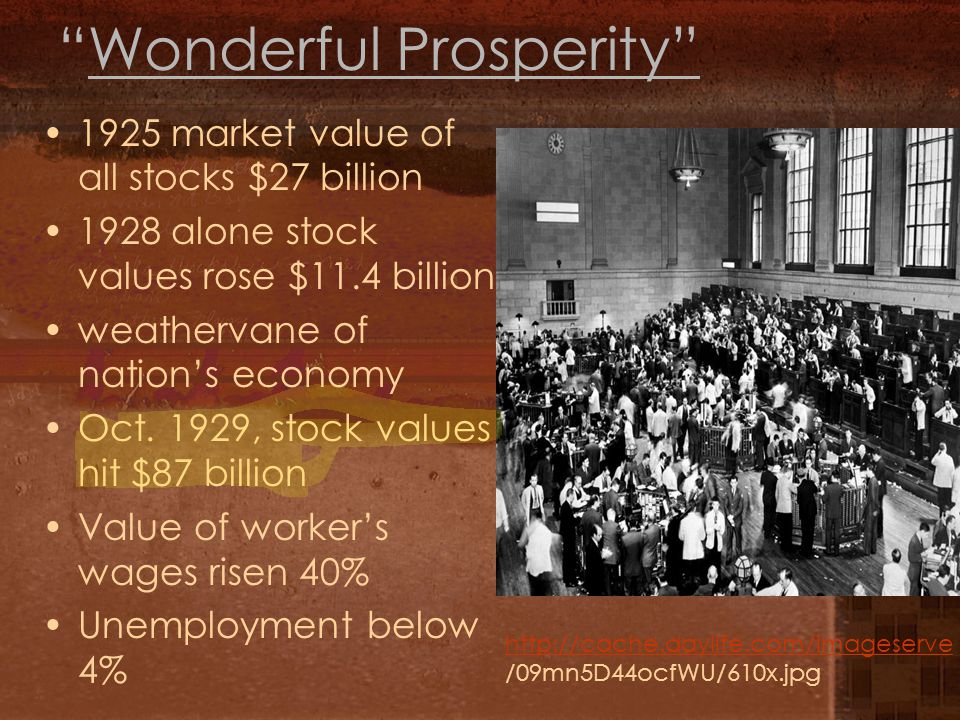 Wonderful Prosperity 1925 market value of all stocks $27 billion 1928 alone stock values rose $11.4 billion weathervane of nation's economy Oct.