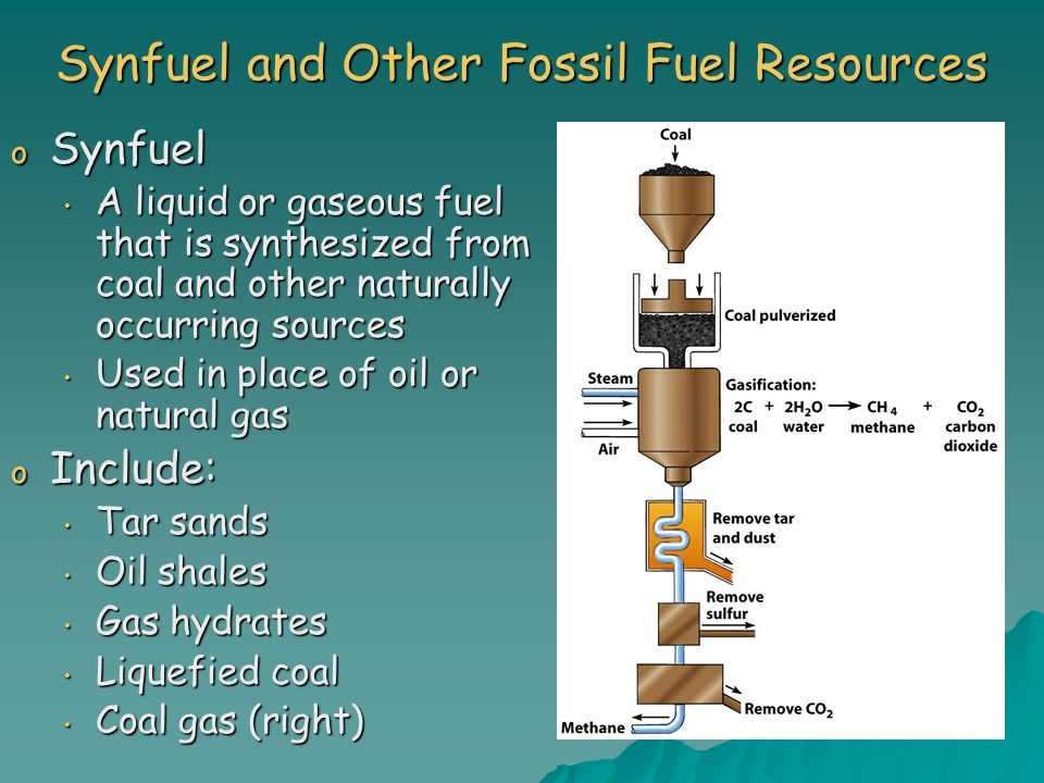 Synfuel and Other Fossil Fuel Resources o Synfuel A liquid or gaseous fuel that is synthesized from coal and other naturally occurring sources A liquid or gaseous fuel that is synthesized from coal and other naturally occurring sources Used in place of oil or natural gas Used in place of oil or natural gas o Include: Tar sands Tar sands Oil shales Oil shales Gas hydrates Gas hydrates Liquefied coal Liquefied coal Coal gas (right) Coal gas (right)