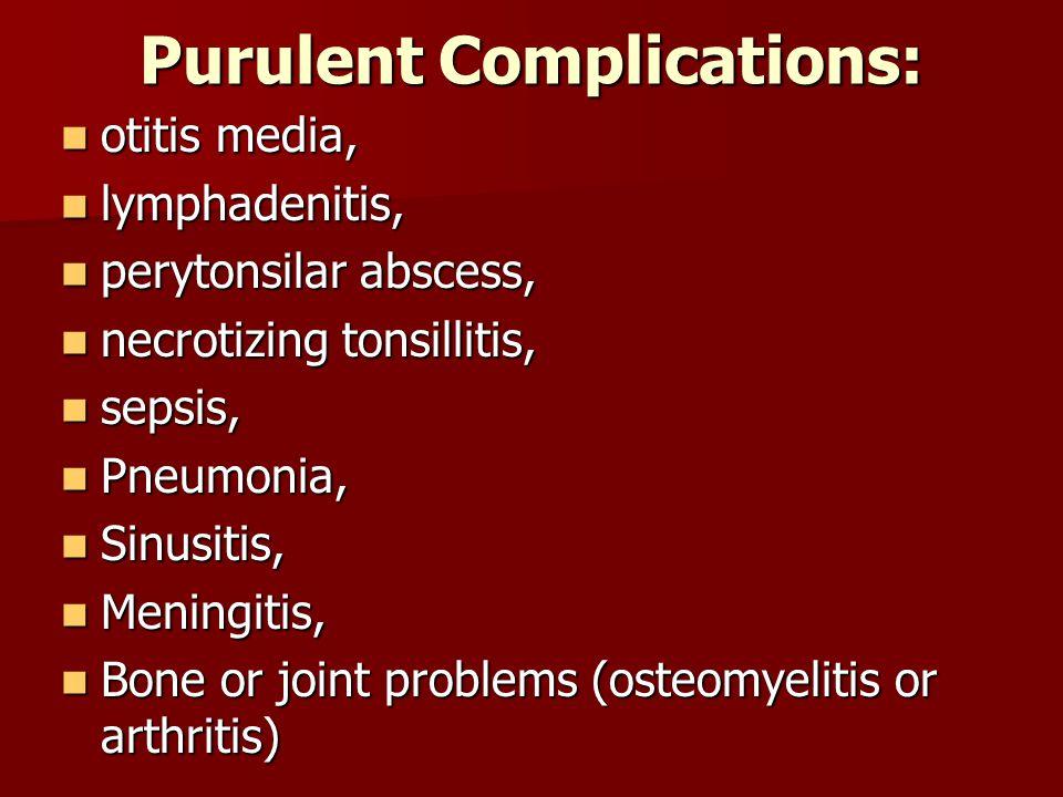 Purulent Complications: otitis media, otitis media, lymphadenitis, lymphadenitis, perytonsilar abscess, perytonsilar abscess, necrotizing tonsillitis,