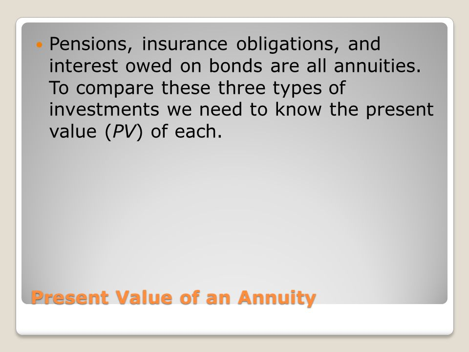 Present Value of an Annuity Pensions, insurance obligations, and interest owed on bonds are all annuities. To compare these three types of investments