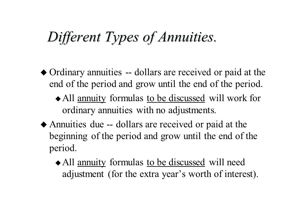 Different Types of Annuities.