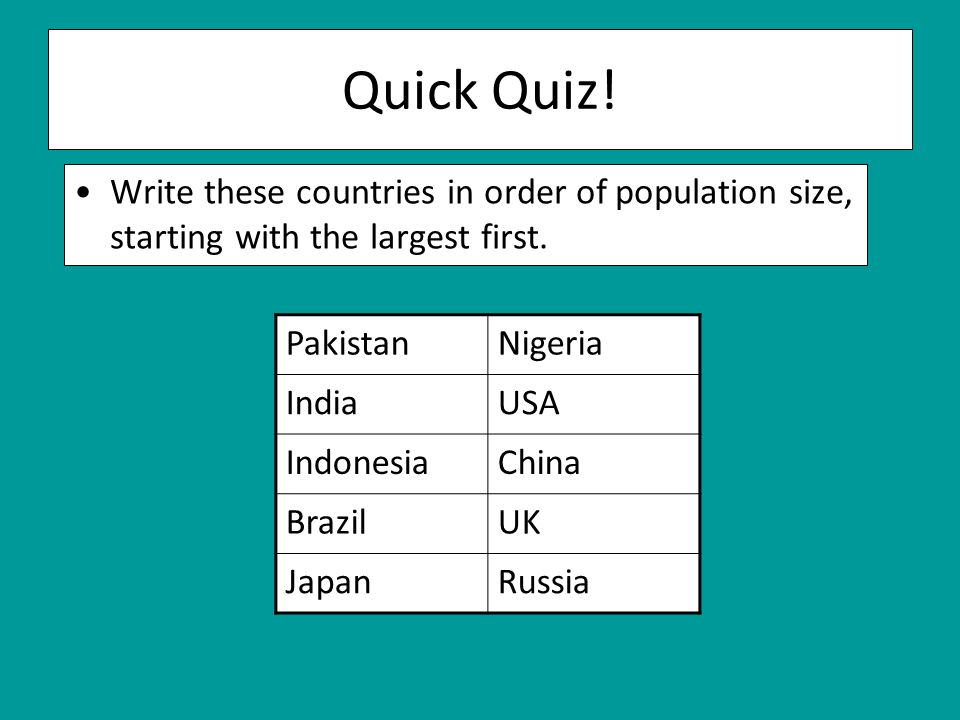 Quick Quiz. Write these countries in order of population size, starting with the largest first.