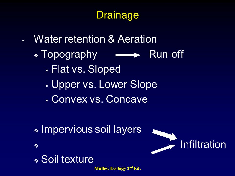Drainage Water retention & Aeration  Topography Run-off  Flat vs. Sloped  Upper vs. Lower Slope  Convex vs. Concave  Impervious soil layers  Inf