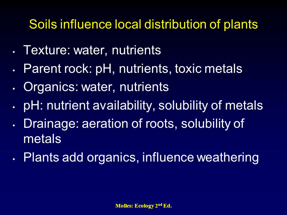Molles: Ecology 2 nd Ed. Soils influence local distribution of plants Texture: water, nutrients Parent rock: pH, nutrients, toxic metals Organics: wat