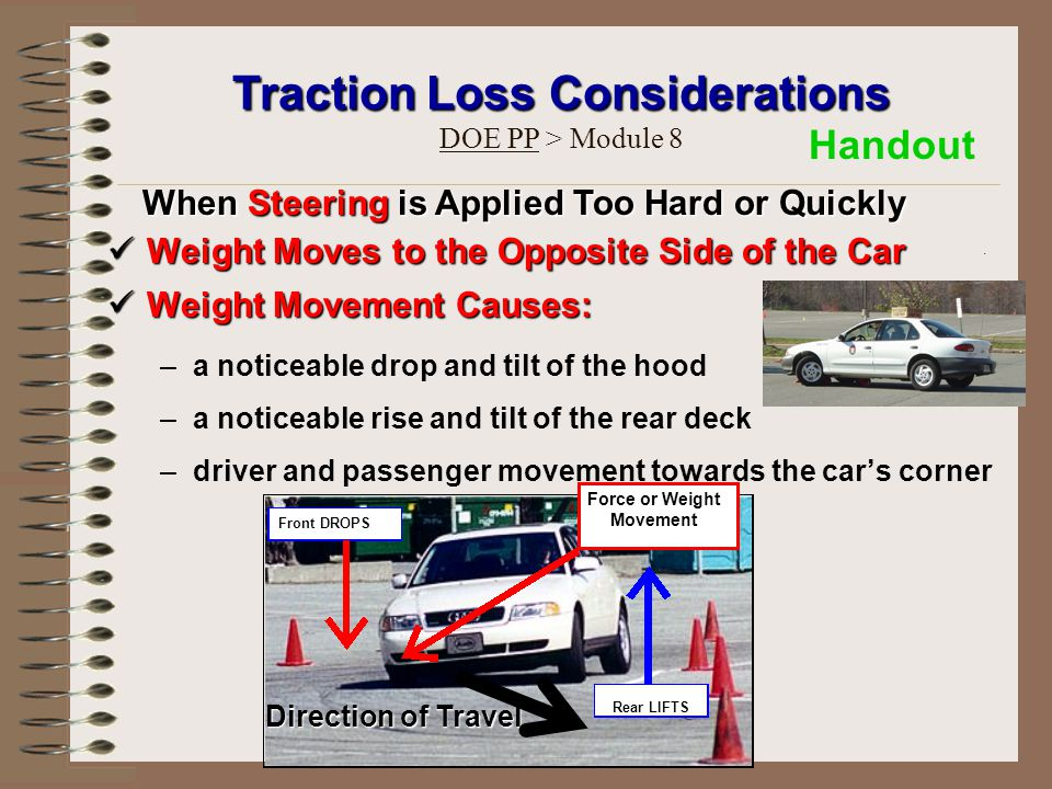Weight Moves to the Opposite Side of the Car Weight Moves to the Opposite Side of the Car Weight Movement Causes: Weight Movement Causes: –a noticeabl