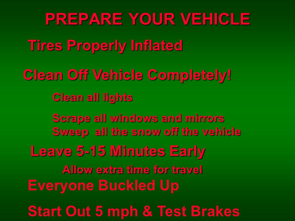 PREPARE YOUR VEHICLE Tires Properly Inflated Clean Off Vehicle Completely.
