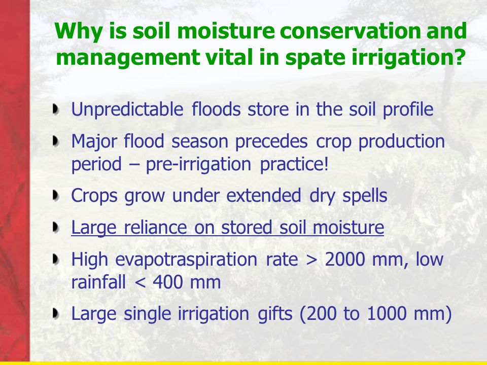 Why is soil moisture conservation and management vital in spate irrigation.