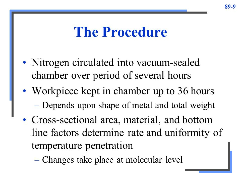 89-9 The Procedure Nitrogen circulated into vacuum-sealed chamber over period of several hours Workpiece kept in chamber up to 36 hours –Depends upon