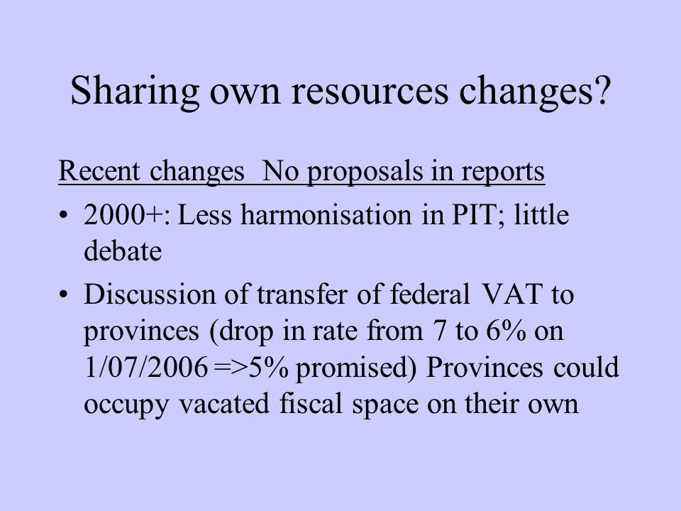Sharing own resources changes.
