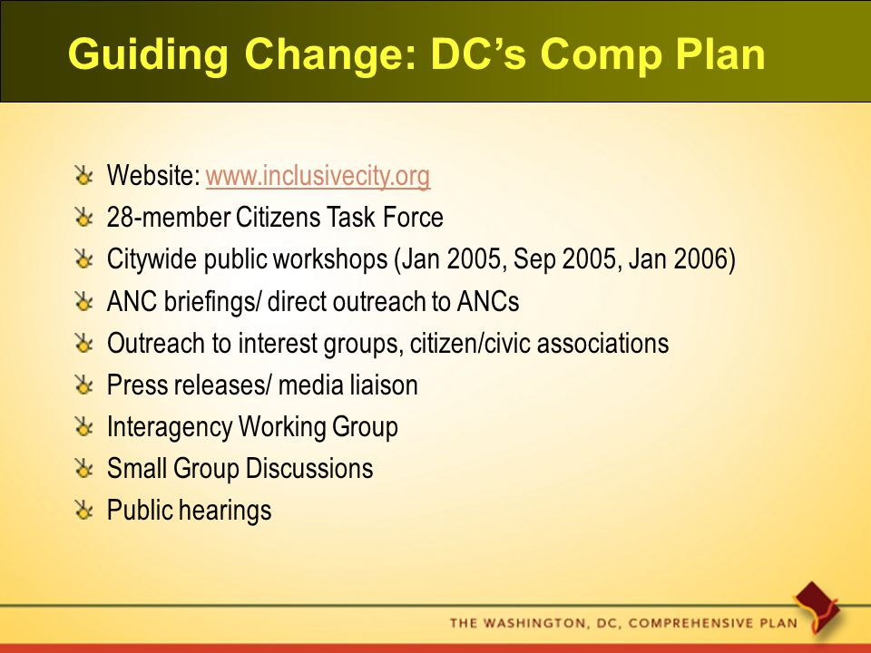 Guiding Change: DC's Comp Plan Website: www.inclusivecity.orgwww.inclusivecity.org 28-member Citizens Task Force Citywide public workshops (Jan 2005, Sep 2005, Jan 2006) ANC briefings/ direct outreach to ANCs Outreach to interest groups, citizen/civic associations Press releases/ media liaison Interagency Working Group Small Group Discussions Public hearings