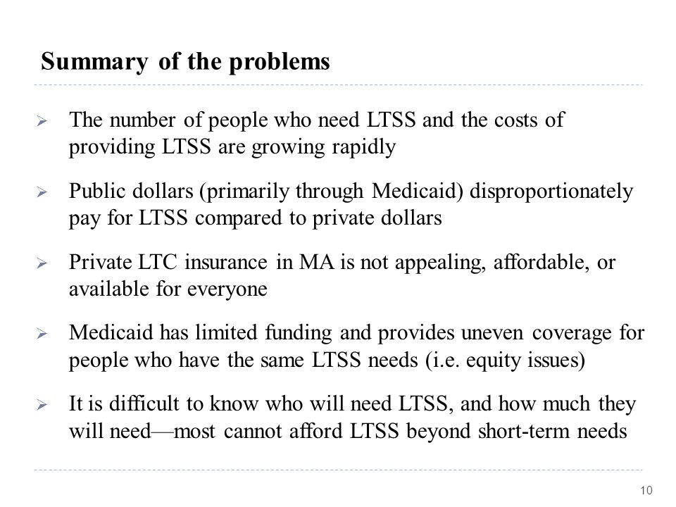 Summary of the problems  The number of people who need LTSS and the costs of providing LTSS are growing rapidly  Public dollars (primarily through M