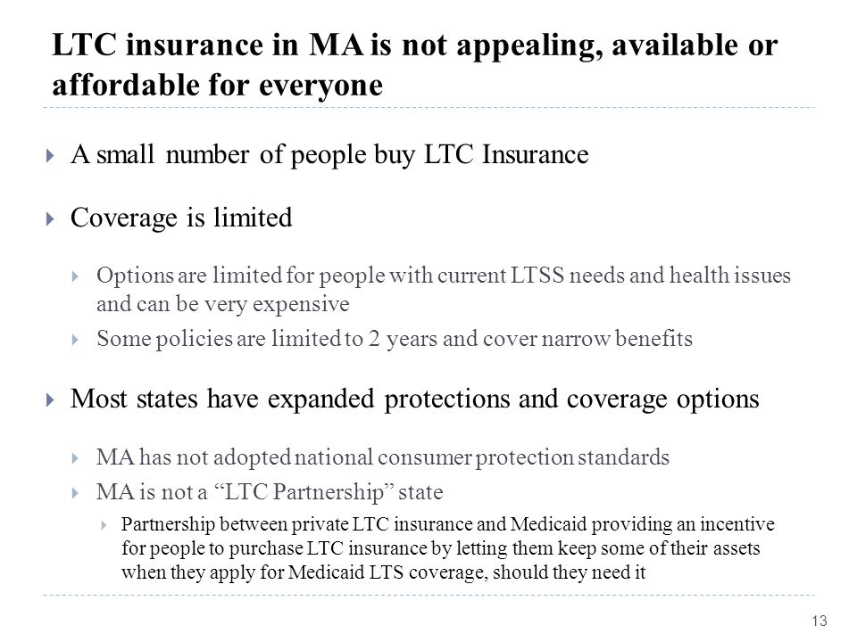 LTC insurance in MA is not appealing, available or affordable for everyone  A small number of people buy LTC Insurance  Coverage is limited  Option