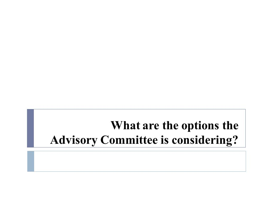 What are the options the Advisory Committee is considering?
