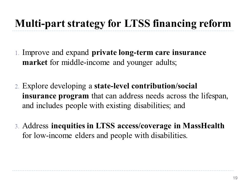 Multi-part strategy for LTSS financing reform 1. Improve and expand private long-term care insurance market for middle-income and younger adults; 2. E
