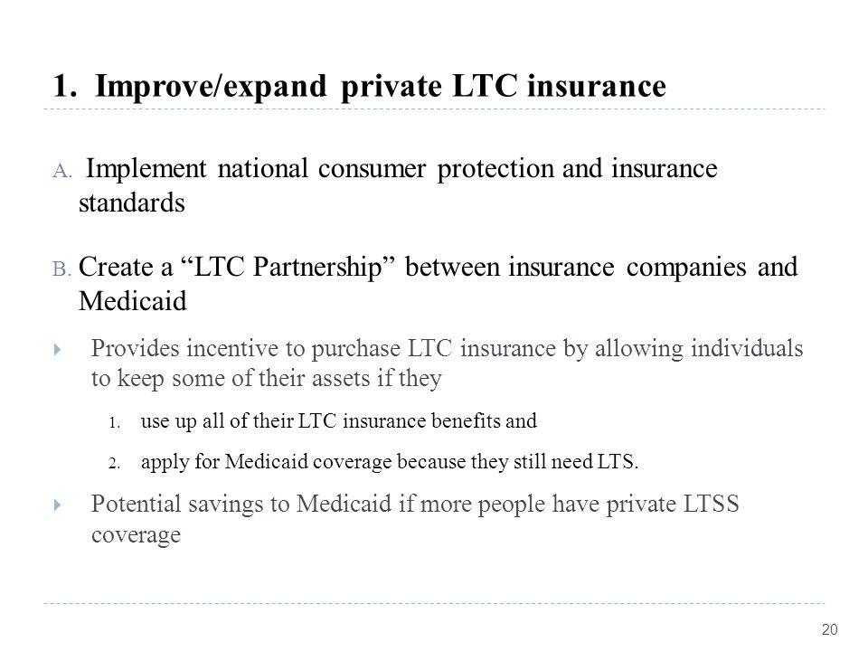 1. Improve/expand private LTC insurance A.